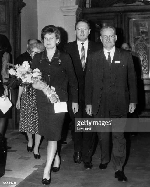The world's first woman astronaut Valentina Tereshkova of Russia is greeted by the President of the Royal Society Sir Howard Florey when she payed a...