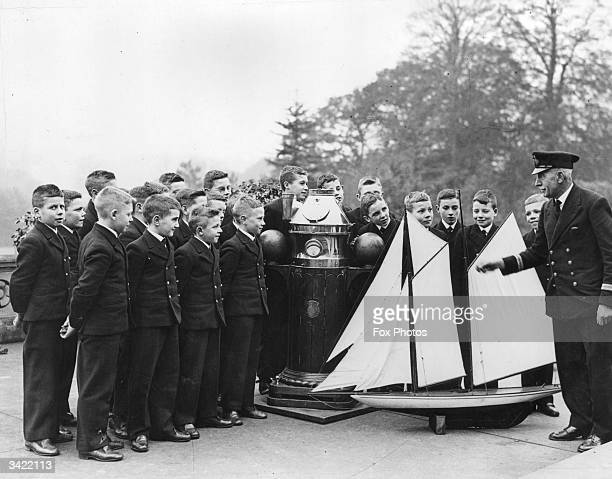 Boys being trained in seamanship at the Royal Merchant Seaman's Orphanage at Bearwood Wokingham Berkshire
