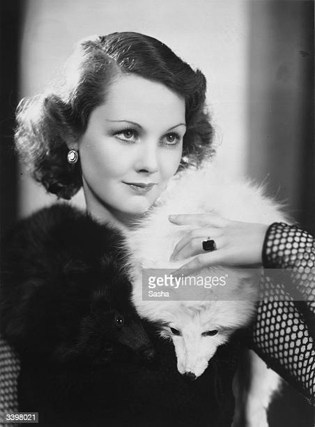 Elizabeth Allan the English film star who is to work for MGM films in Hollywood wearing two Arctic foxes