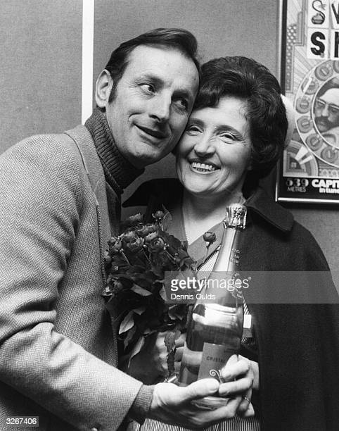 Gerald Harper British actor with Jessie Good of Dulwich hospital selected as Capital Radio's 'Nurse of the Year'