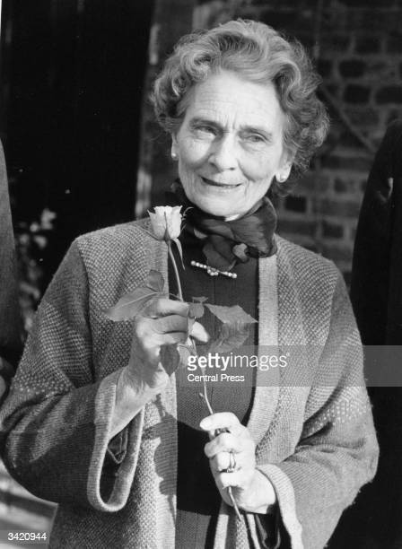 Princess Alice, Duchess Of Gloucester, with a Soul rose given to her by the British Limbless Ex-Servicemen's Association on her 80th Birthday.