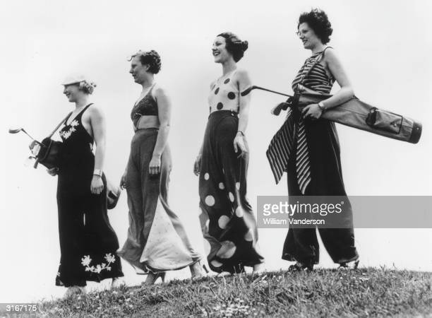 Four women wearing beach pyjamas to play golf on Stanley Park golf course at Blackpool, Lancashire.