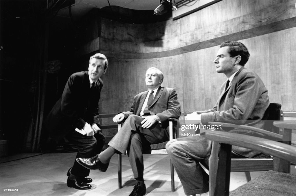 Alastair Burnet and Harold Wilson before a broadcast in the ITV studios.
