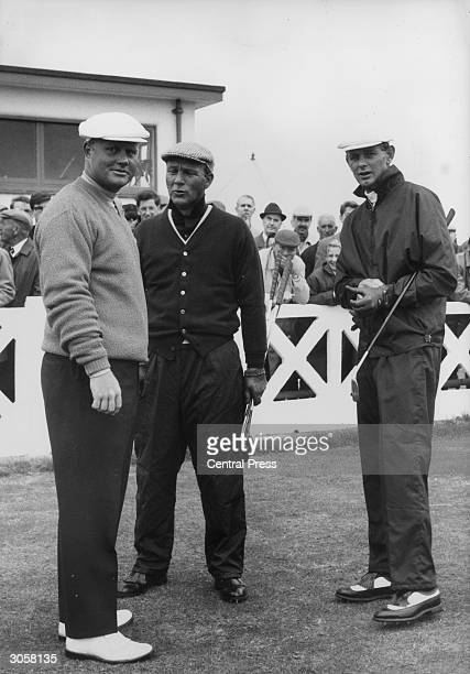 American golfers Jack Nicklaus Arnold Palmer and B Devlin during a practice round of golf at the Royal Birkdale golf course in Merseyside