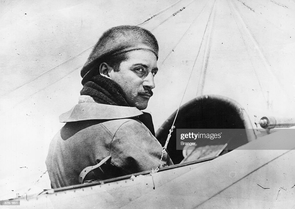 French aviator Roland Garros in the cockpit of an aircraft.