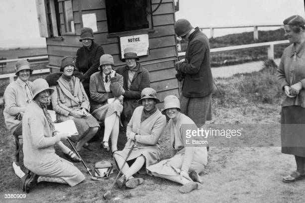A group of competitors in a Ladies' Scottish Foursomes competition at St Andrews waiting their turn at the 1st tee The Royal and Ancient golf club at...