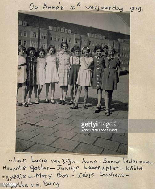 EXCLUSIVE Group portrait at Anne Frank's 10th Birthday party taken from her photo album Merwedeplein Amsterdam Holland