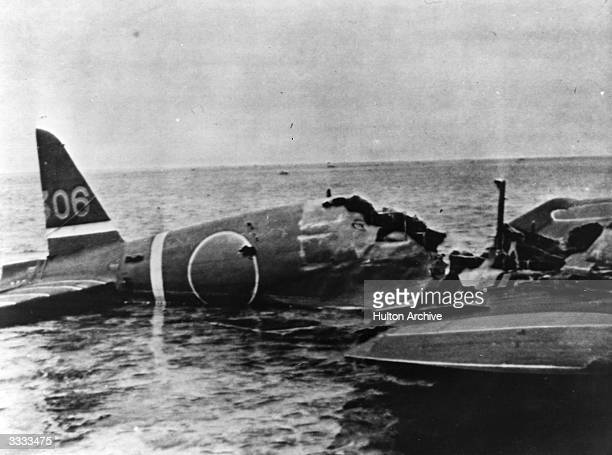 A wrecked Japanese war plane floating in the water after it had been shot down during the Battle of the Coral Sea