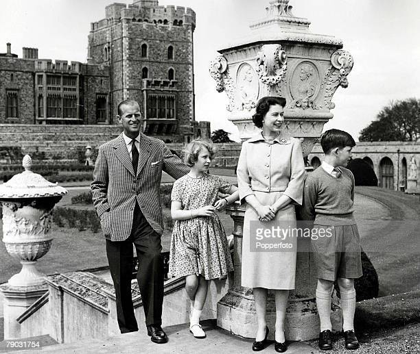 6th June 1959 A picture of the Royal family on top of the East Terrace Garden stops with the Brunswick Tower in the background at the Royal retreat...
