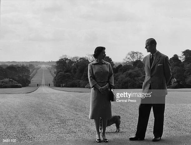 Queen Elizabeth II and the Duke of Edinburgh near the George IV Gateway Windsor Castle