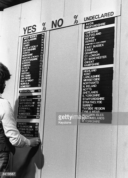 The BBC's results board at Earl's Court London where votes polled in London boroughs during the Referendum on the Common Market are being counted