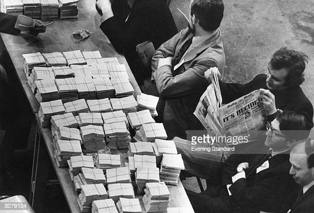 Vote Counters take a break at Earls Court after counting the EEC referendum ballot forms