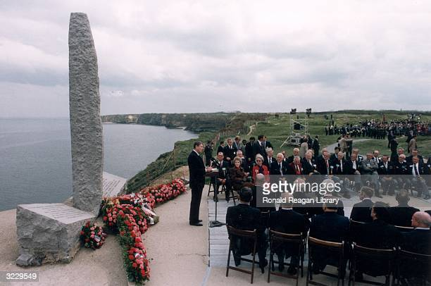 US President Ronald Reagan delivers a speech commemorating the Fortieth Anniversary of DDay at the site of the Allied invasion Pointe Du Hoc Normandy...