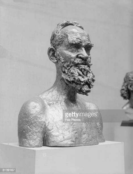 Bust of Irish playwright and novelists George Bernard Shaw by British sculptor Jacob Epstein on display at Leicester Galleries