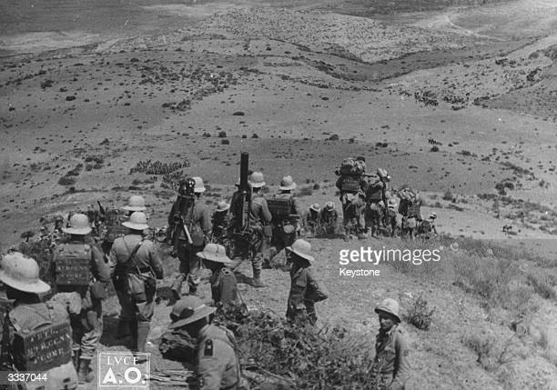Italian soldiers move on Amba Algai said to be the gateway to Addis Ababa during the invasion of Ethiopia