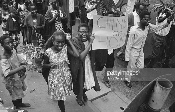 Students demonstrating during the coup that overthrew the dictatorship of the self appointed president of Ghana Kwame Nkrumah Some of the students...