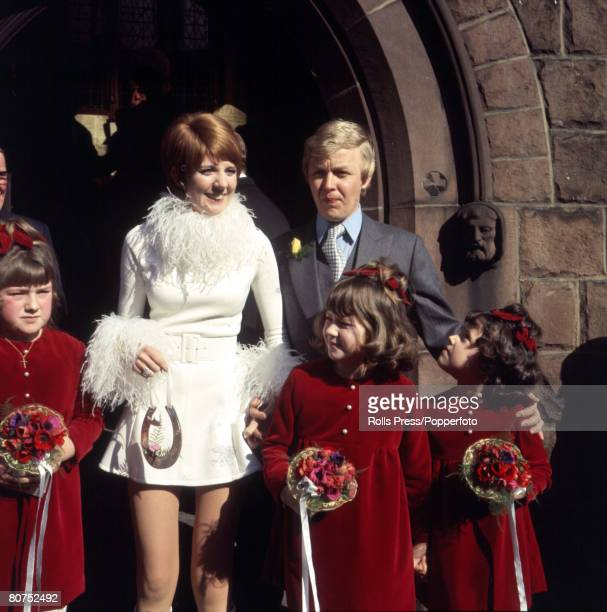 6th MARCH 1969 Liverpool England Cilla Black pictured with her husband Bobby Willis at the entrance of the Parish church of St Mary's in Woolton...
