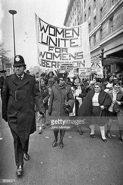 The Women's Liberation Movement march in the streets of London.