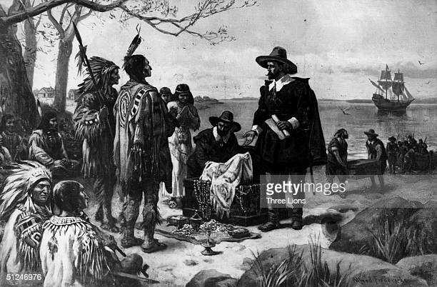 6th May 1626 Dutch colonial officer Peter Minuit purchases Manhattan Island from Manahata Native Americans for trinkets valued at $24 Original Artist...