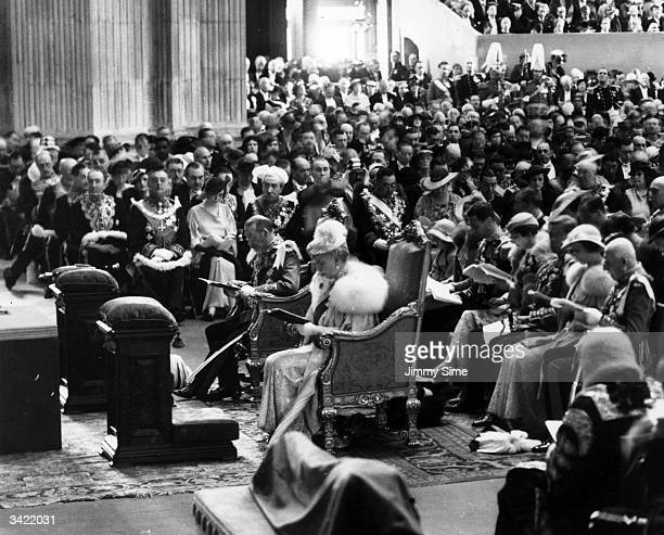 King George V and Queen Mary attending the Thanksgiving Service in St Paul's Cathedral London for their Silver Jubilee