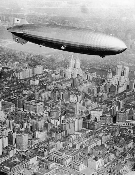 Aerial view of the German-made dirigible the Hindenburg...