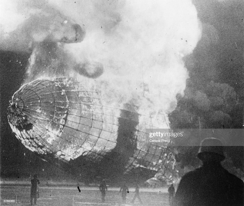 The German airship 'Hindenburg' (LZ-129) in flames after the disaster on its arrival at Lakehurst, New Jersey.
