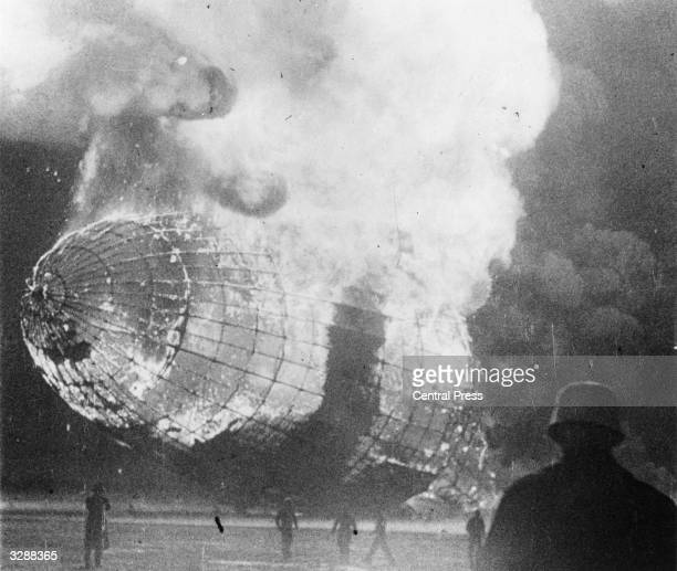 The German airship 'Hindenburg' in flames after the disaster on its arrival at Lakehurst New Jersey