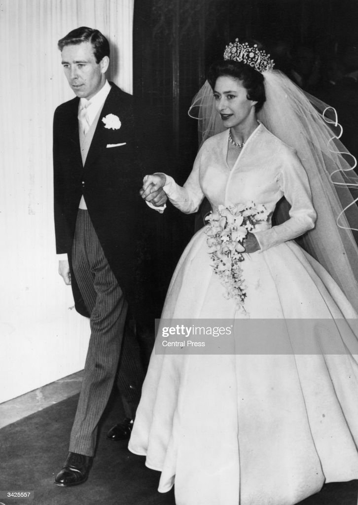 Princess Margaret (1930 - 2002) and Antony Armstrong-Jones leaving Westminster Abbey on their wedding day.