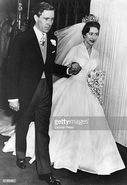 Princess Margaret and Antony ArmstrongJones leaving Westminster Abbey after their wedding
