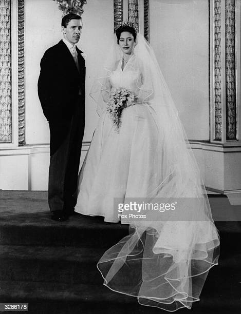 Princess Margaret and Antony ArmstrongJones on their wedding day at Buckingham Palace after the ceremony