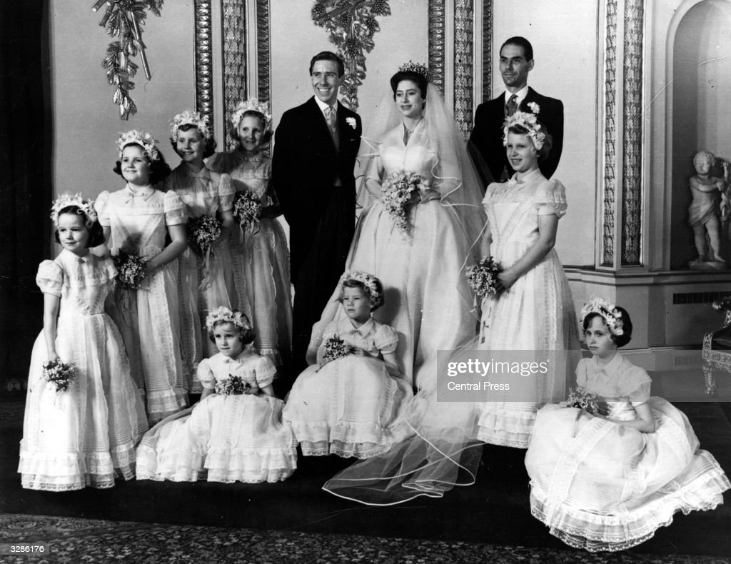 The bridal group at Buckingham Palace at the wedding of Princess Margaret (1930 - 2002) and Antony Armstrong-Jones.