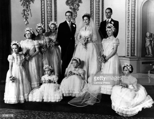 The bridal group at Buckingham Palace at the wedding of Princess Margaret and Antony ArmstrongJones