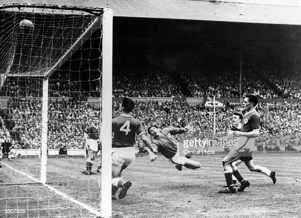 Leicester City goalkeeper Gordon Banks watches the ball skim over the bar during the FA Cup Final against Tottenham Hotspur at Wembley Spurs won the...