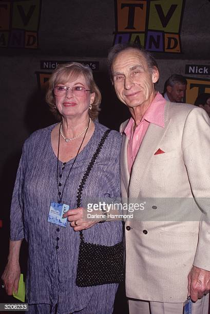 American comedian Sid Caesar smiles with his wife Florence Levy backstage at an event for the cable television network TV Land