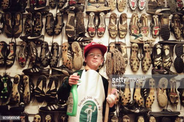 6th Norton Scout group get stuck in cleaning the bath at Ayresome Park 20th April 1995 Ciaran Fear looks at the task ahead in the boot room