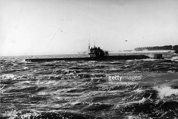 The submarine D2 off the coast of Portsmouth carrying Winston Churchill in his capacity as First Lord of the Admiralty
