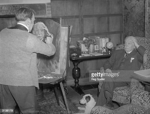 Welsh Liberal statesman and ex prime minister David Lloyd George MP at his home in Churt Surrey where Sir John Lavery is painting his portrait