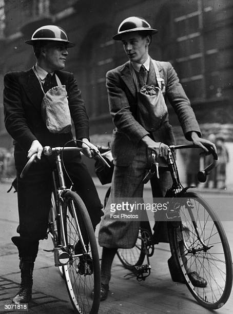 Champion of the Mersey Road Club R C Coward and the Liverpool Trials Champion E Murstill volunteer for the new corps of cyclist ARP messengers