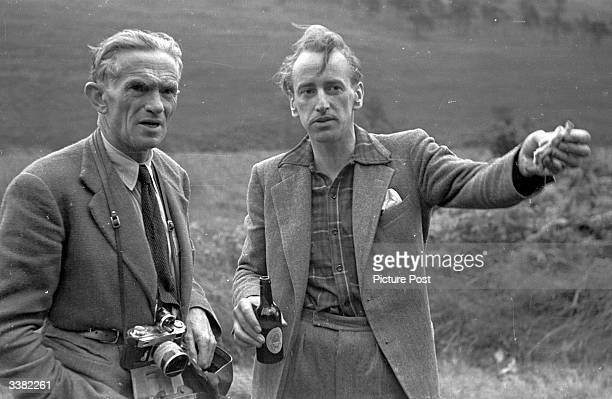 Picture Post writer Lionel Birch with photographer Kurt Hutton photographing Londoners on a weekend horse riding break near Ashdown Forest, Sussex....