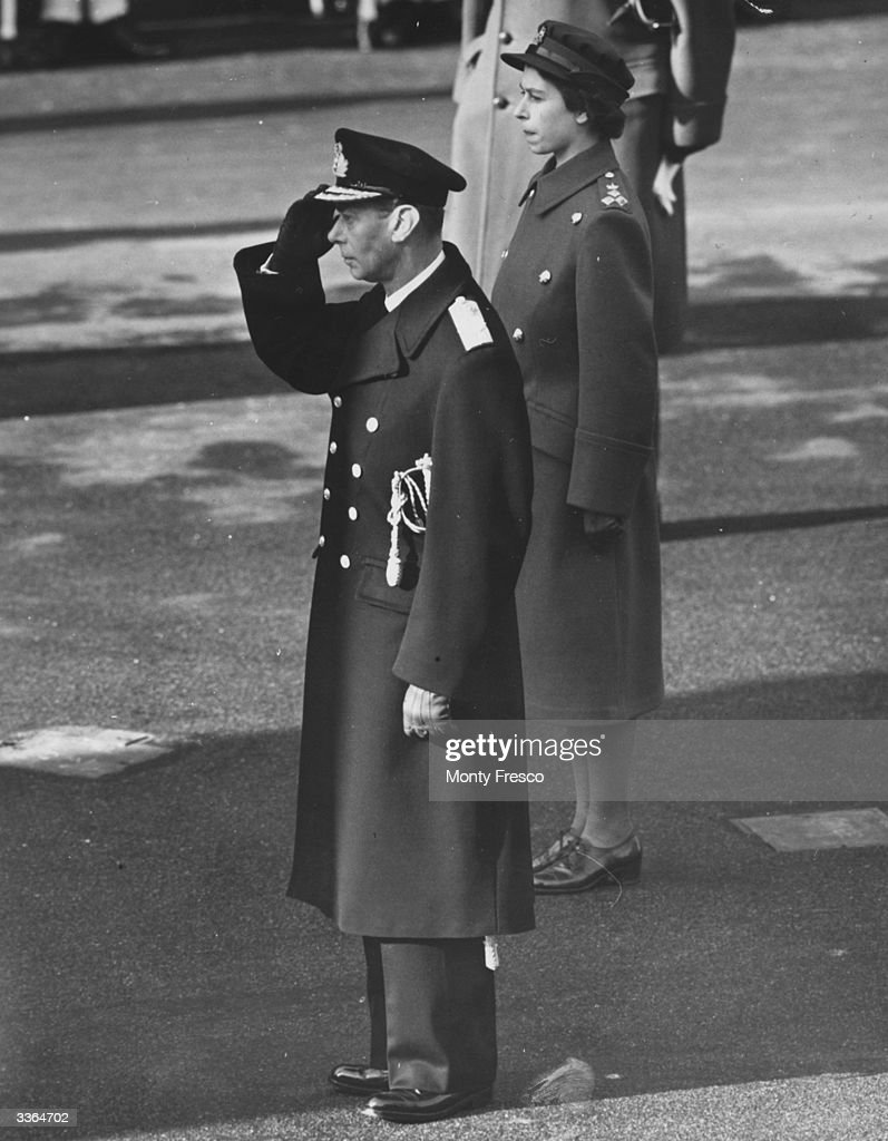 King George VI and Princess Elizabeth attending a service of remembrance at the Cenotaph, Whitehall, London.