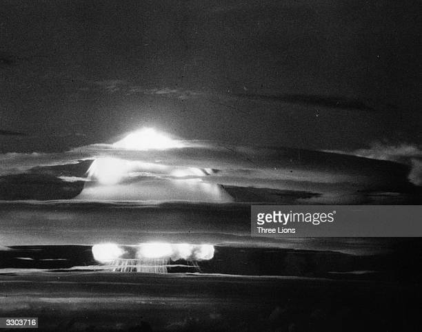 The fireball of heated expanding gas from the first H-Bomb explosion at Eniwetok Atoll in the Pacific.
