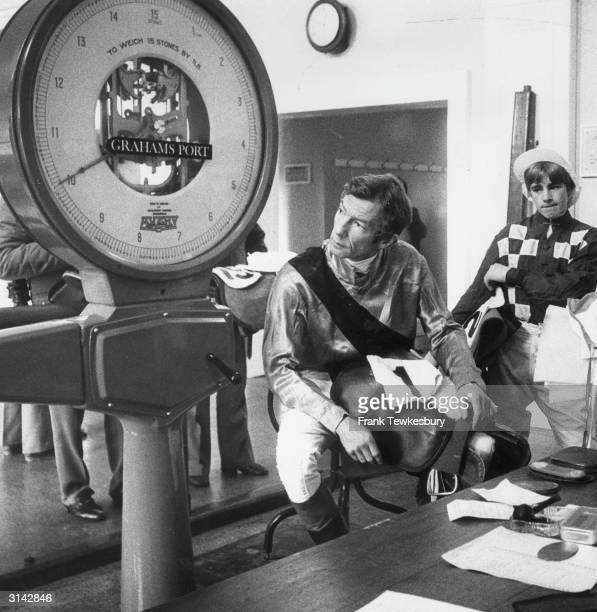 Jockeys Lester Piggott and A Clark weighing in