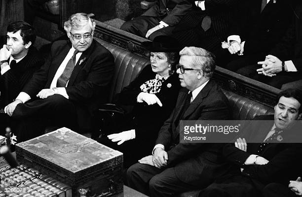 British prime minister Margaret Thatcher and Foreign Secretary Geoffrey Howe seated in Commons waiting to be summoned by Black Rod