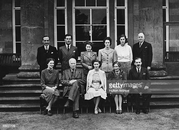 At Hillborough Castle front row from left to right the Marchioness of Hamilton His Excellency the Earl of Granville Princess Margaret Rose Her...