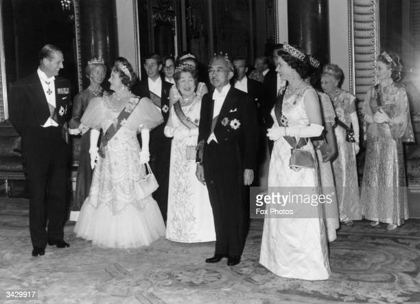 Members of the British and Japanese royal families during the Japanese Emperor's state visit to England Prince Philip The Duchess of Kent Queen...