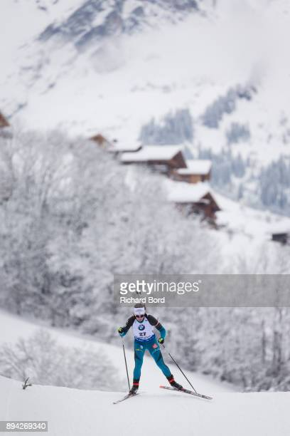 6th place Anais Chevalier of France compete during the IBU Biathlon World Cup Men's and Women's Mass Start on December 17, 2017 in Le Grand Bornand,...