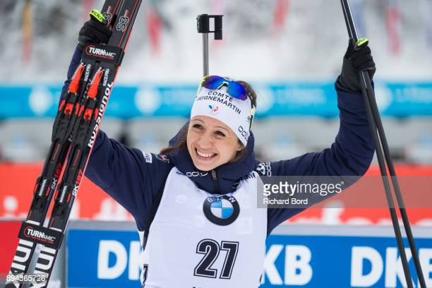 6th place Anais Chevalier of France reacts prior the podium ceremony during the IBU Biathlon World Cup Women's Mass Start on December 17, 2017 in Le...