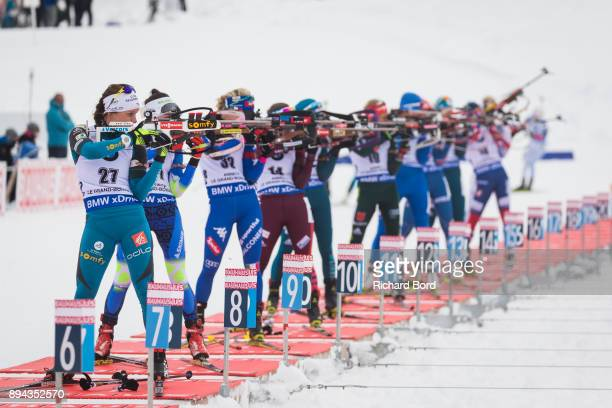 6th place Anais Chevalier of France shoots during the IBU Biathlon World Cup Women's Mass Start on December 17, 2017 in Le Grand Bornand, France.