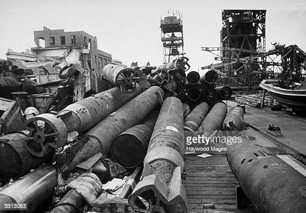 Torpedoes that German Uboats never had the opportunity to use against Allied shipping rust into uselessness in Germany Original Publication Picture...
