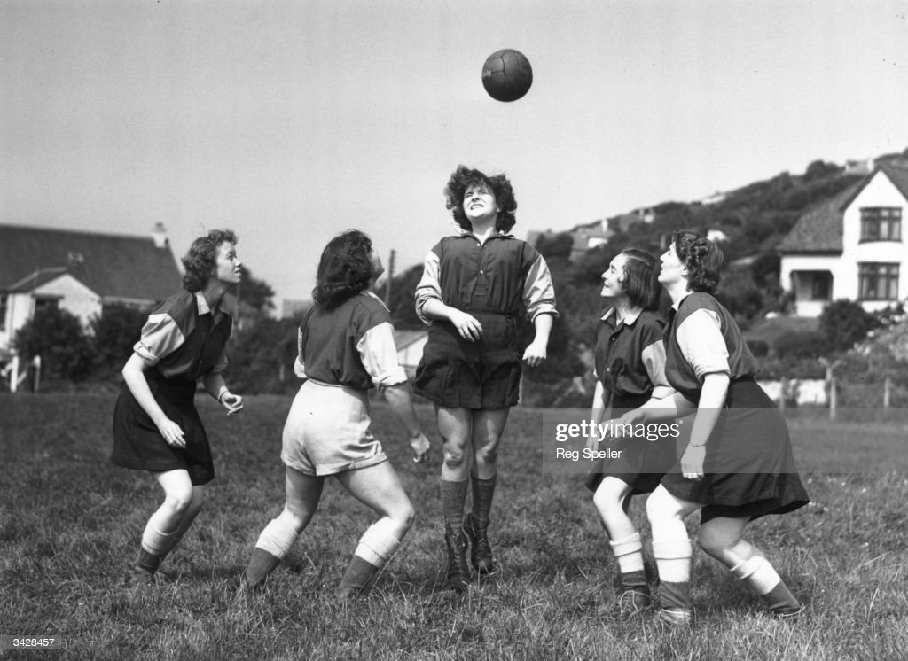 Members of 'The Amazons' women's football team, training at Combe Martin, Devon, (left to right) Pat Camp, Daphne Challcombe, Marcia Gubb, Rosemary Bowles and Elizabeth Parkin.